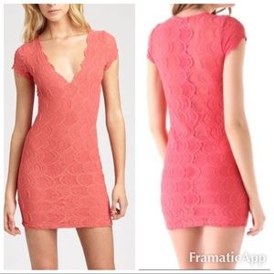 . Nightcap free people coral lace deep V dress Bxd